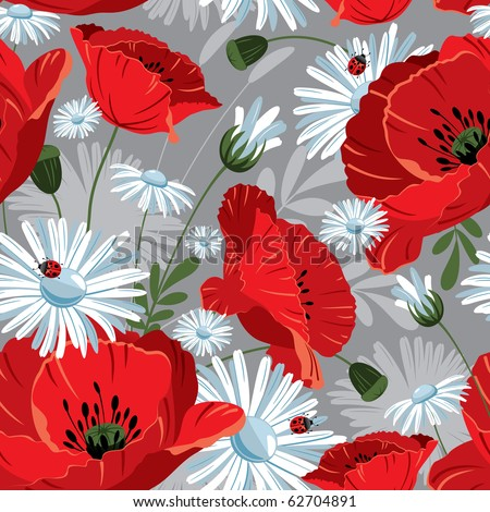 Excellent seamless pattern with with poppies and daisies on gray background - stock vector