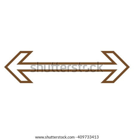 Exchange Arrow Horizontal vector icon. Style is contour icon symbol, brown color, white background. - stock vector