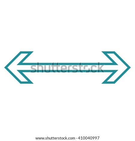 Exchange Arrow Horizontal vector icon. Style is contour icon symbol, soft blue color, white background. - stock vector