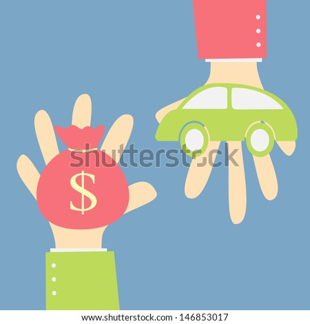 exchange money and car - stock vector