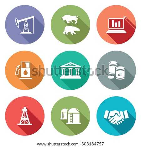 Exchange of gas and oil industry Icons Set. Vector Illustration. Isolated Flat Icons collection on a color background for design - stock vector