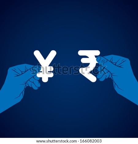 exchange rupee and yen currency vector - stock vector