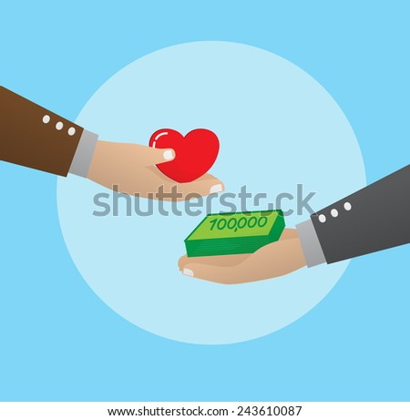 Exchanging money with love - stock vector
