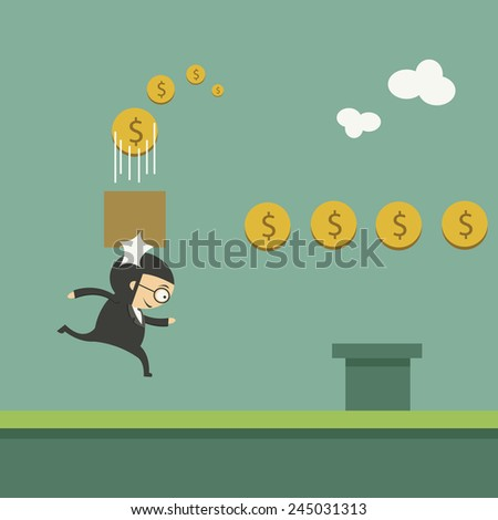 excited businessman running to the money - stock vector
