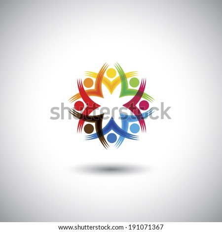 excited, motivated group of people, children or employees - vector graphic. This illustration also represents students community, workers union, kids playing, happy people, friendship, meetings  - stock vector