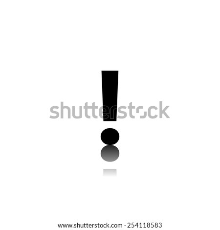 exclamation mark black icon with reflection - stock vector