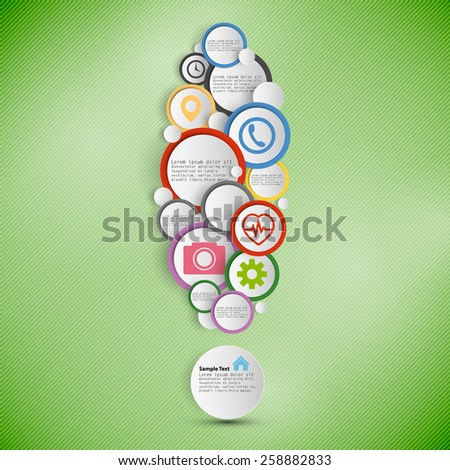 Exclamation mark. Infographic with colored circles for business, template vector.  - stock vector
