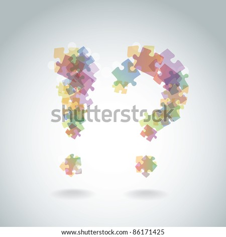 exclamation mark question mark from the pieces of puzzle - illustration - stock vector