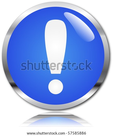 Exclamation on a blue button - stock vector