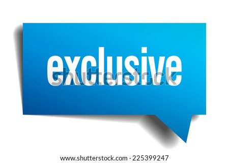 exclusive blue 3d realistic paper speech bubble - stock vector
