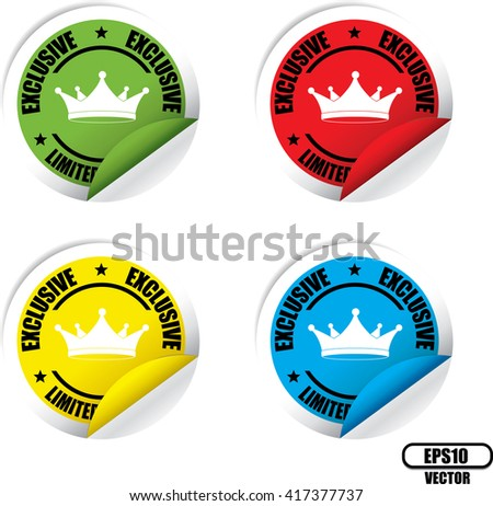 Exclusive Limited Edition Colorful Label, Sticker, Tag, Sign And Icon Banner Business Concept, Design Modern. Vector illustration. - stock vector