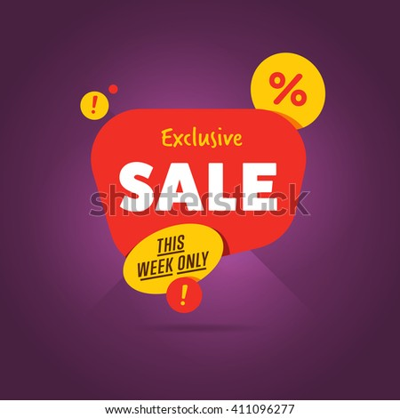 Exclusive Sale vector banner. Sale tag. Sale background. Sale coupon. Sale vector. Big sale. Sale tag. Super Sale and special offer. Sale. Modern flat vector illustration - stock vector