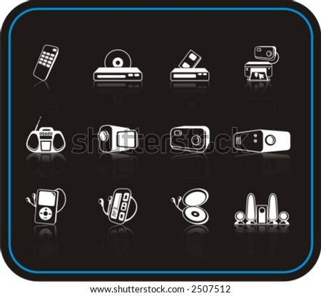 Exclusive Series of Media Icons. Check my portfolio for much more of this series as well as thousands of similar and other great vector items. - stock vector
