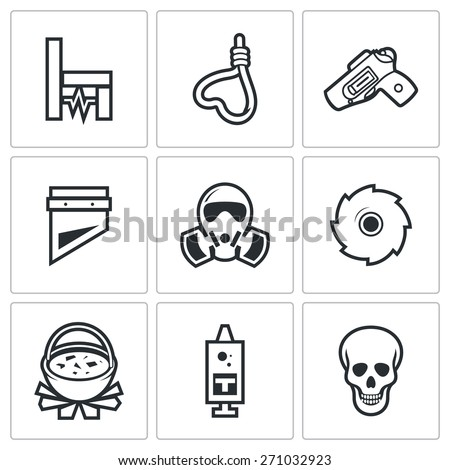 Execution icons: electric chair, hanging, firing squad, guillotine, gas chamber, dismemberment, cannibalism, injection, death. Vector Illustration. - stock vector