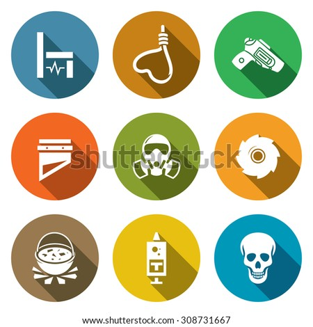 Execution Icons Set. Vector Illustration. Isolated Flat Icons collection on a color background for design - stock vector