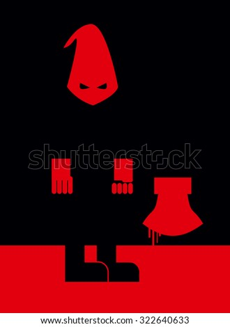 Executioner in mask and with an axe. Scary Punisher stands in blood at night.  Person commits penalty. Blood flows down with an axe. - stock vector