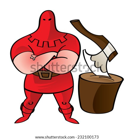 Executioner in red - axe, wooden block, crime, punishment, death - stock vector