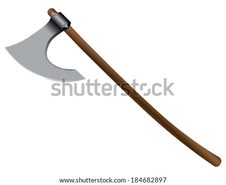 Executioner's ax on a long wooden handle. Vector illustration. - stock vector