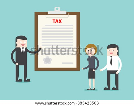 Executive explain about TAX to businessman businesswoman.  Flat design for business financial marketing banking advertising commercial web minimal concept cartoon illustration. - stock vector