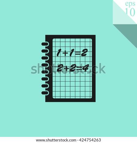Exercise book vector icon. Mathematics symbol - stock vector