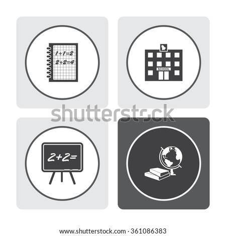 Exercise book vector icon. School building vector icon. Blackboard vector icon. Books and globe vector icon. Education symbol. - stock vector