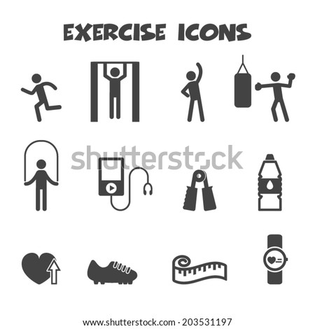 exercise icons, mono vector symbols - stock vector