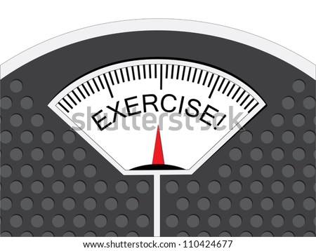 Exercise is indicated on the pointer on the analog weighing scale. - stock vector