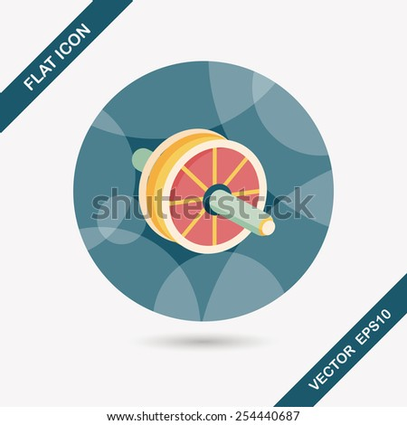 exercise roller flat icon with long shadow,eps10 - stock vector