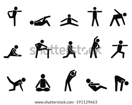 exercise stretching icons - stock vector