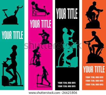 Exercise Web Banner Vector Templates for a Health Club or Gymnasium - stock vector