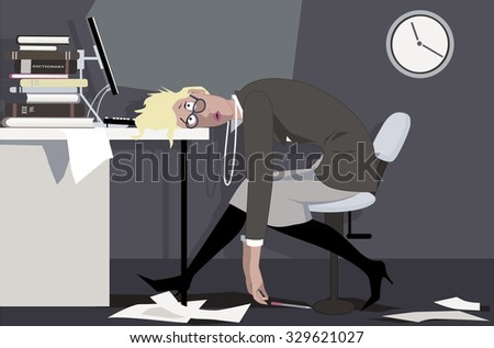 Exhausted woman sitting in the office late at night, putting her head on the desk, EPS 8 vector illustration - stock vector