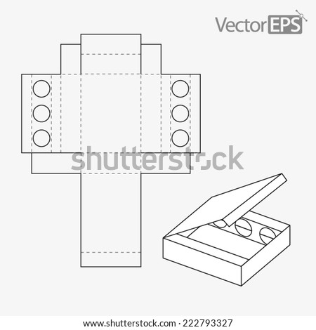 Exhibiting display box with three holes - stock vector