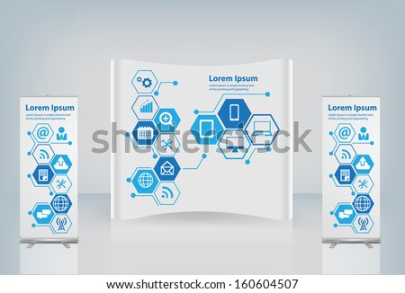 Exhibition stand with cloud of application icon, Technology business software and social media networking online store service idea concept, Vector illustration modern layout template design - stock vector
