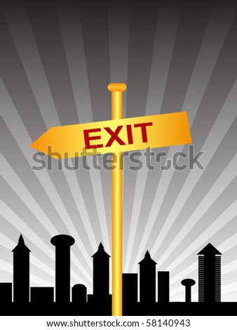 exit sign city - stock vector