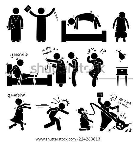 Exorcist Exorcism Evil Demon Spirit Ritual Stick Figure Pictogram Icon - stock vector