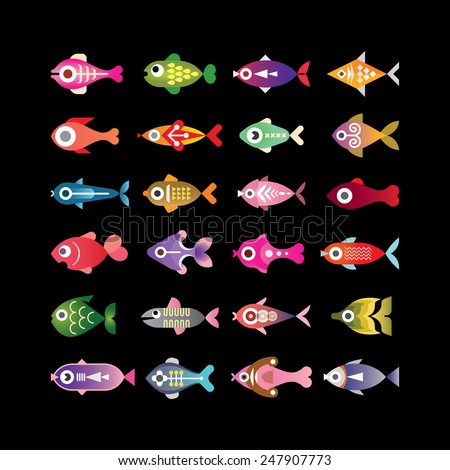 Exotic aquarium fishes - set of colorful vector icons. Isolated on black background. - stock vector