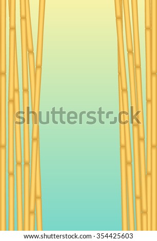 Exotic Bamboos with Blue Background for using as Placard or any Background  - stock vector