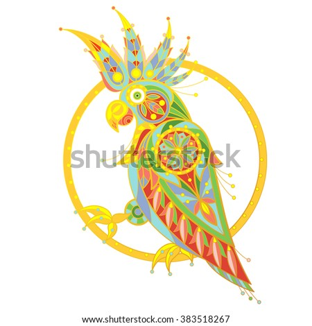 Exotic bird parrot. Unusual illustration cockatoo for book covers, displays, posters, clothing, interior items. Colored cockatoo - stock vector