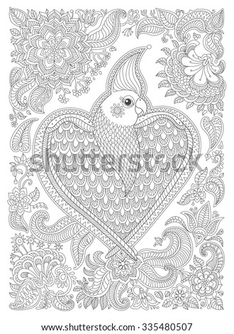 Exotic bird with fantastic flowers, branches, leaves. Black and white contour thin line. Vector decorative fantasy stylized parrot silhouette in the jungle. T-shirt print. Coloring book vertical page - stock vector