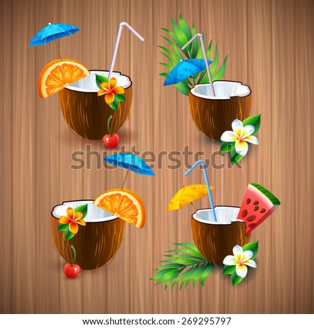 Exotic coconut cocktail - stock vector