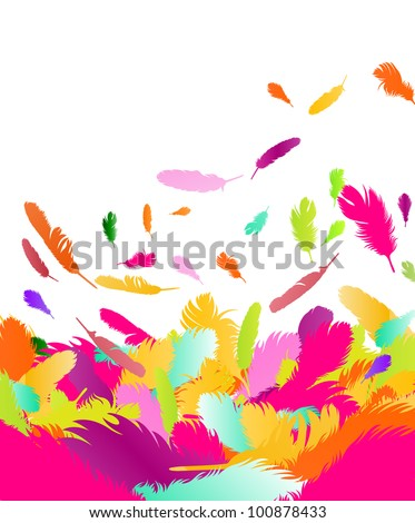 Exotic feather vector background - stock vector