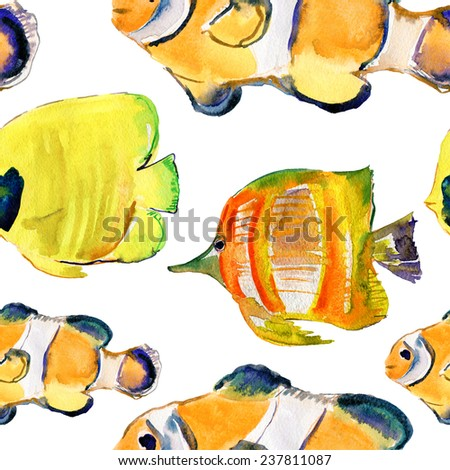 Exotic fish (tropical fish). Repeating seamless pattern. Watercolor painting. Vector. - stock vector