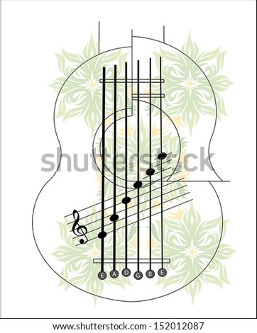 Exotic guitar with flowers and notes  - stock vector