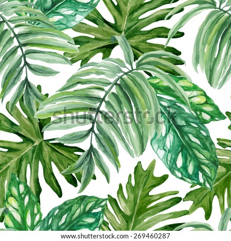 Exotic leaves, rainforest. Seamless, hand painted, watercolor pattern. Vector background. - stock vector