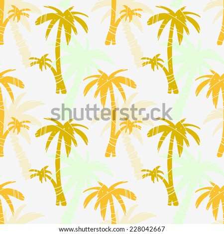 Exotic seamless pattern with silhouettes tropical coconut palm trees. Forest, jungle repeated background. Abstract print texture. Cloth design. Wallpaper  - stock vector