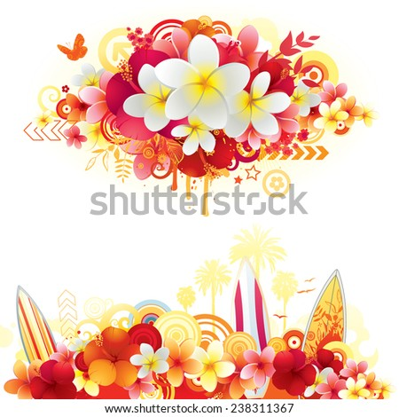 Exotic summer banners with hibiscus and plumeria flowers. - stock vector