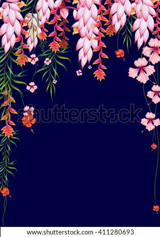 Exotic tropical background with colorful flowers - stock vector