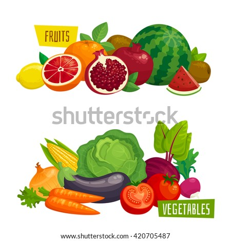 Exotic tropical fruits and fresh vegetables horizontal compositions. Cartoon  vector illustration - stock vector