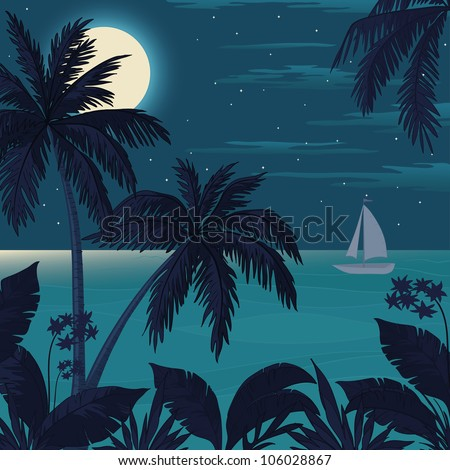 Exotic tropical landscape with moon night sky, palm trees, flowers and sea with sailboat. Vector - stock vector