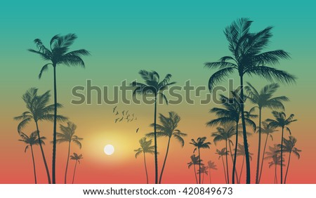 Exotic tropical palm trees  at sunset - stock vector